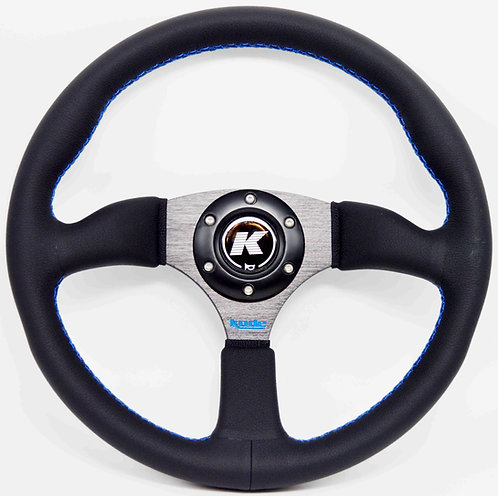 KODE Leather Steering Wheel Half Dish Blue stitch