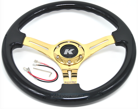 Kode-350mm Flat Dish Retro ABS Steering Wheel Gold Center Fits MOMO OM