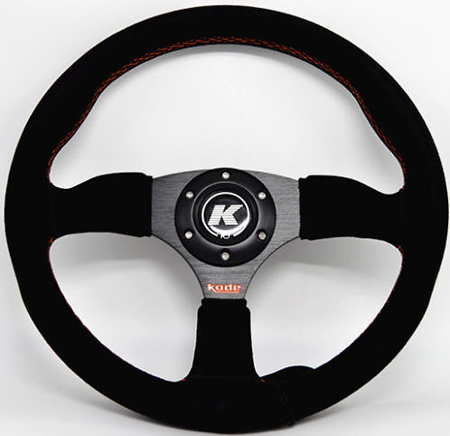 KODE Suede Steering Wheel-Half Dish Orange Stitch