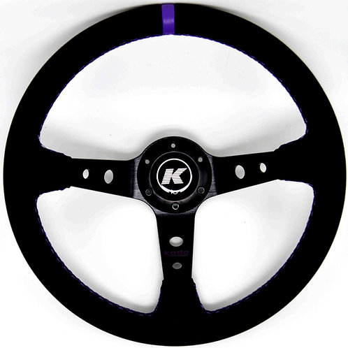 KODE Leather Steering Wheel-Deep Dish Purple Stitch