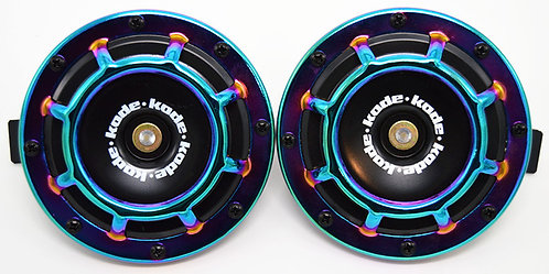 A Pair Universal 12V 5 Compact Super Tone Loud Blast Grill Mount Horn Neo Chrome