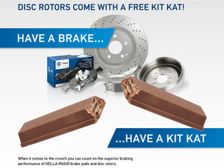 FREE KIT KAT WITH EVERY PURCHASE OF HELLA PAGID PADS & ROTORS!
