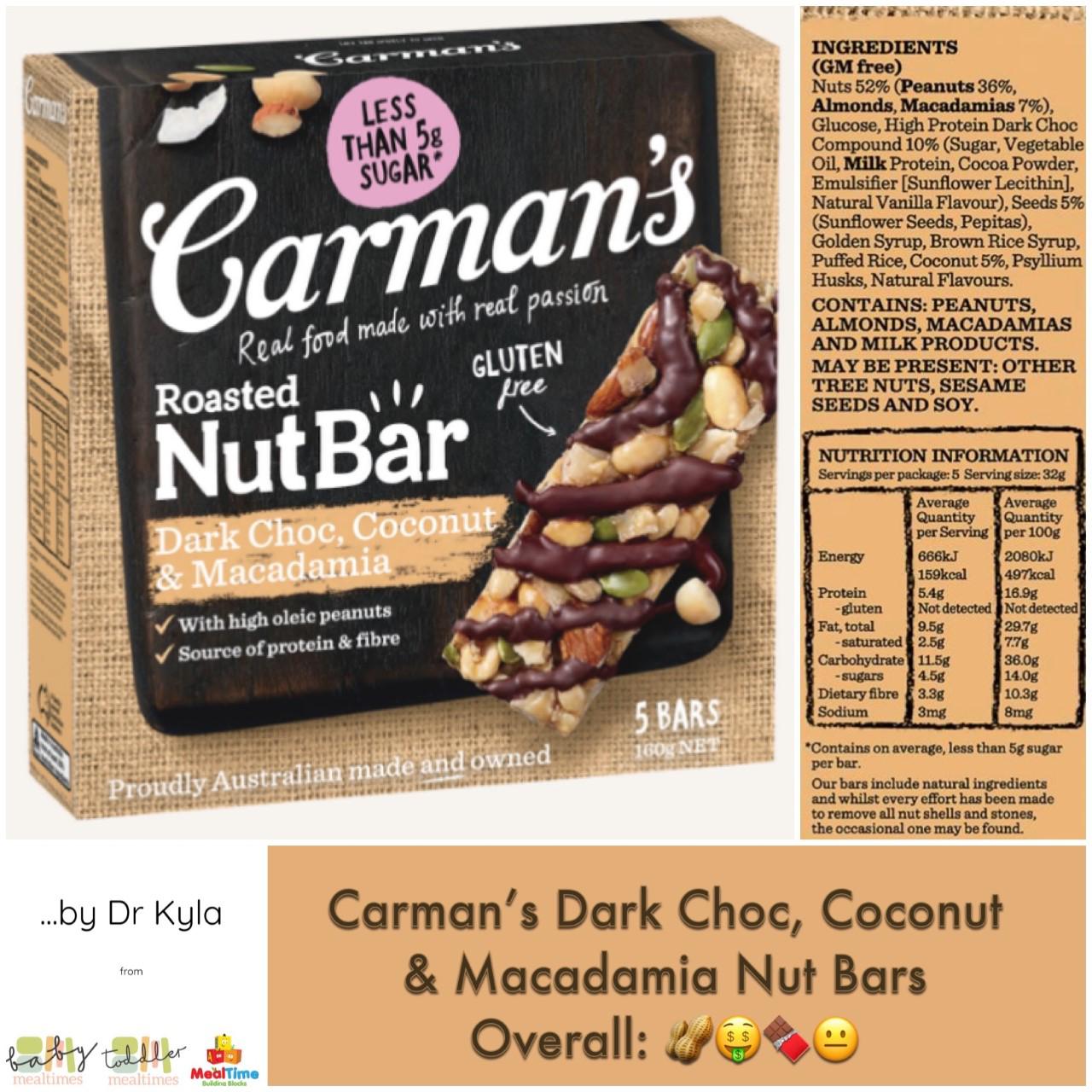 Chewsday Review- Carman's Dark Choc, Coconut & Macadamia Nut Bar