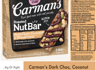 Chewsday Review- Carman's Dark Choc, Coconut & Macadamia Nut Bar