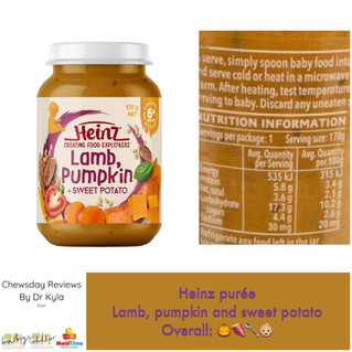 Chewsday Review- Heinz baby food jar lamb, pumpkin and sweet potato
