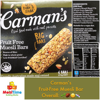Chewsday Review- Carman's Fruit Free Muesli Bars
