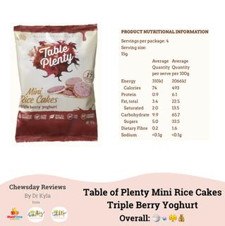 Chewsday Review- Table of Plenty Mini Rice Cakes Triple Berry Yoghurt