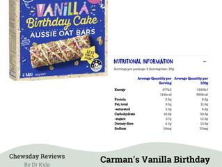 Chewsday Review- Carmen's Vanilla Birthday Cake Oat Bars