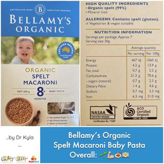 Chewsday Review- Bellamy's Spelt Baby Pasta