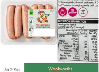 Chewsday Review- Woolworths Beef sausages with carrot and sautéed onion