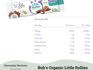 Chewsday Review- Bub's Organic Little Rollies Coconut