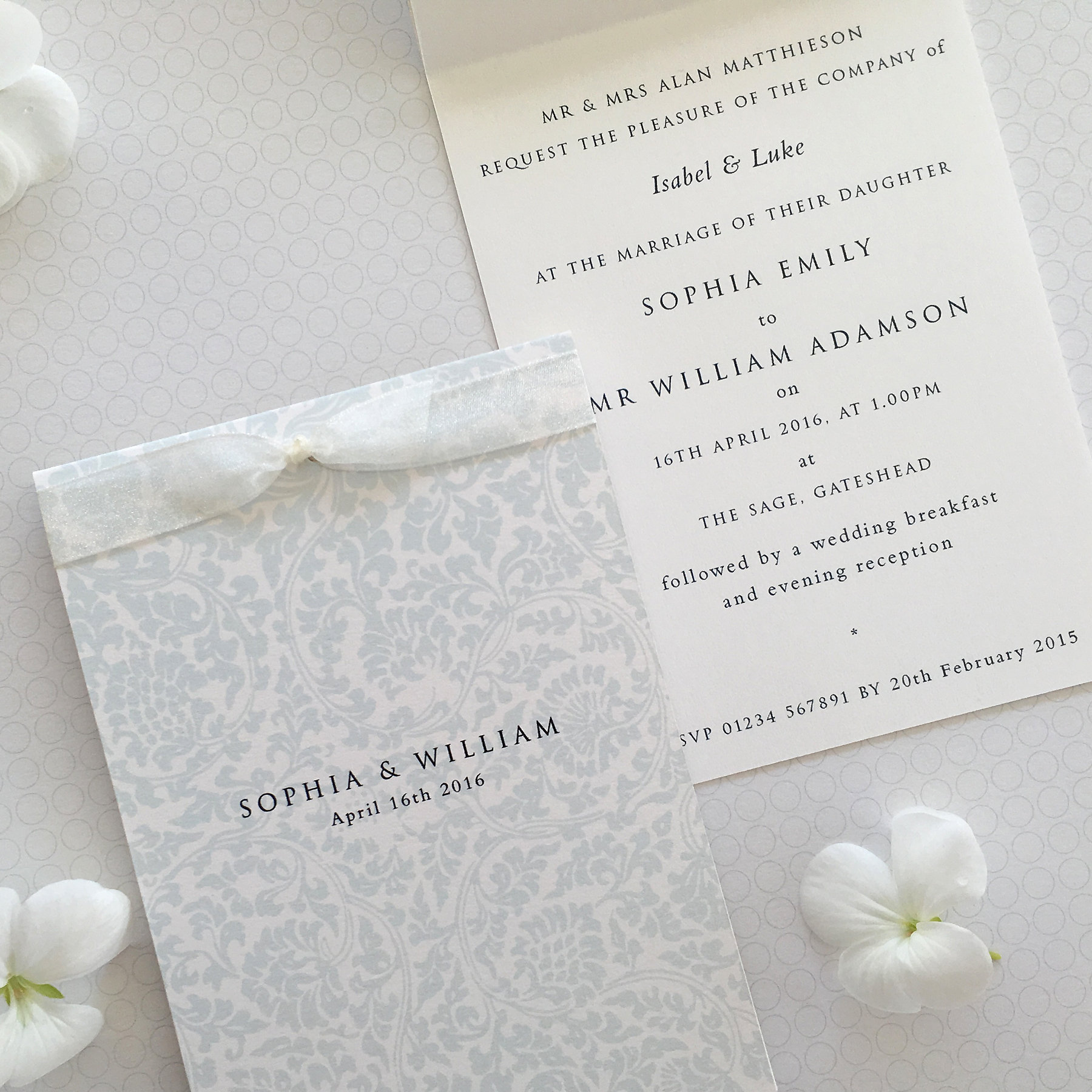 Mysite scroll wedding invitation this pretty timeless design has a soft damask background pattern and a tied bridal white ribbon the invitation printed on 300gm fine art paper is a6 in monicamarmolfo Choice Image