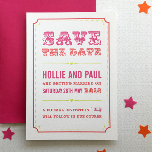 Circus save the date as the first glimpse your guests will have of your wedding your save the date is important in setting the scene an original and quirky save the date stopboris Image collections