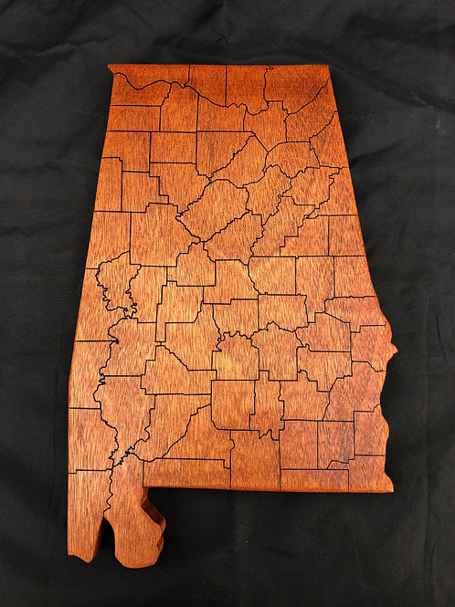 Alabama Cutting Board with counties