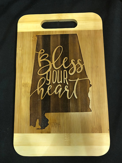 Bless your heart bamboo cutting board
