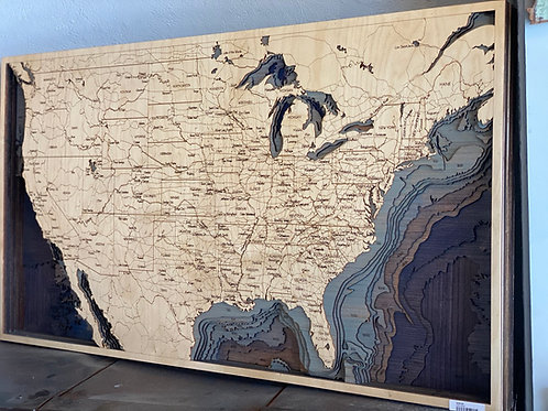 USA Map with Ocean Depths