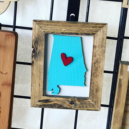 Alabama framed with heart