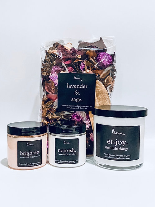 LIMA SAMPLER | nourish 4oz + brighten 6oz + candle 9oz + potpourri