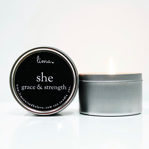 SHE - GRACE & STRENGHT candle | michigan harvest | 7oz