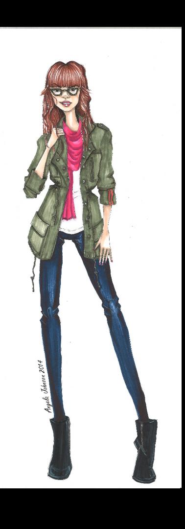 Green jacket illustration