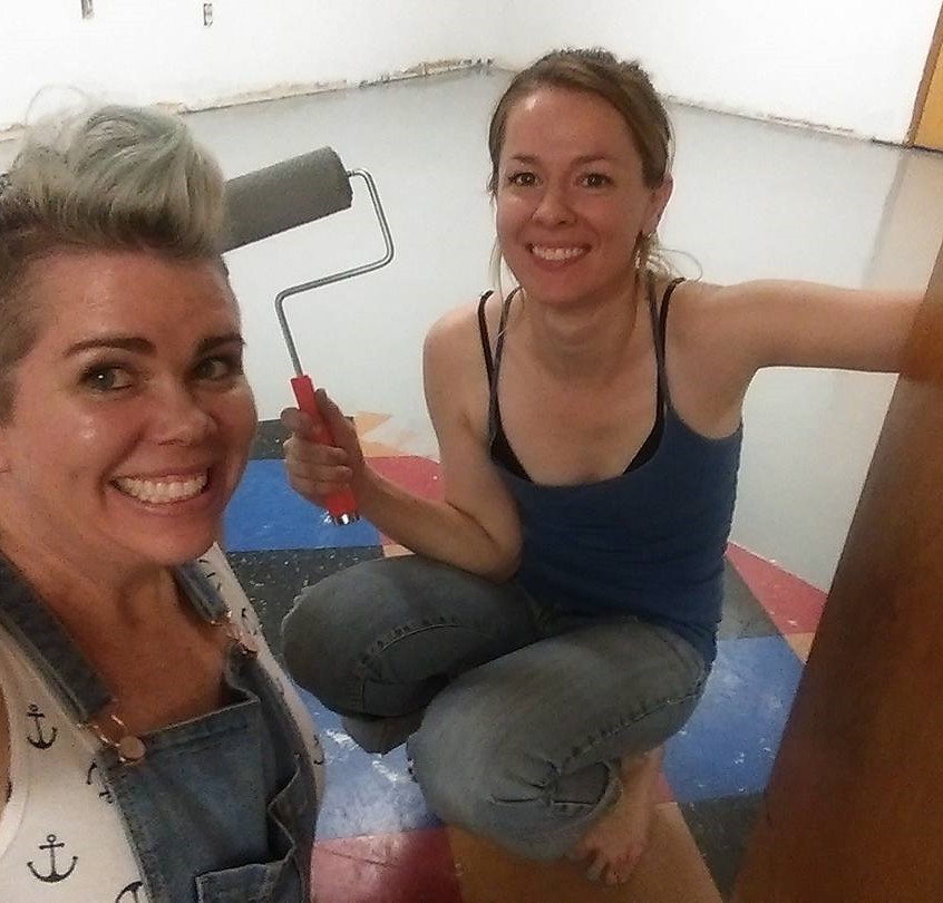 Tabitha and Angela painting