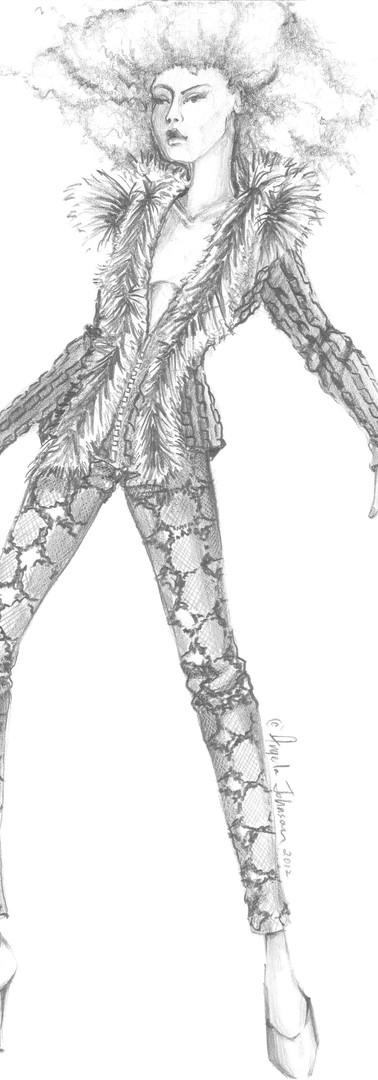 Angela Johnson pencil fashion sketch