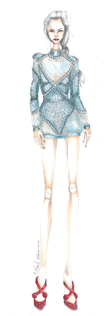 Angela Johnson Fashion Illustration Blue