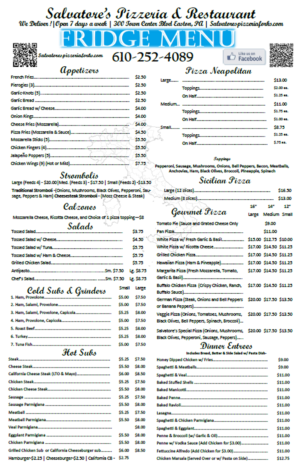 Salvatore S Restaurant Menu
