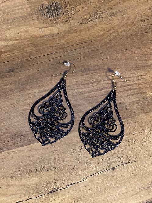 Black decorative metal earrings