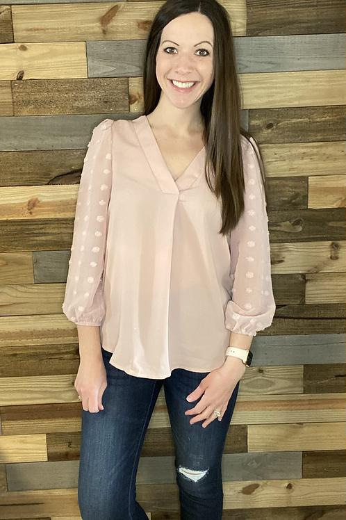 Blush textured sleeve blouse