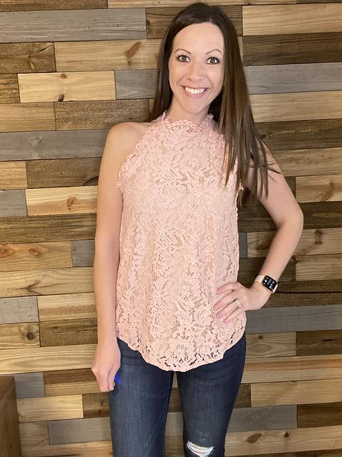 Mauve lace sleeveless blouse