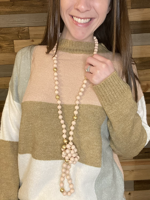 Blush/gold beaded necklace