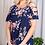 Thumbnail: Plus size navy floral cold shoulder