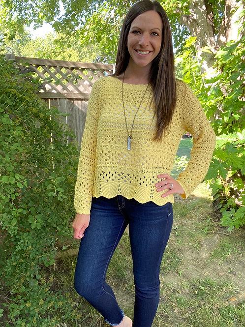 Yellow crochet sweater