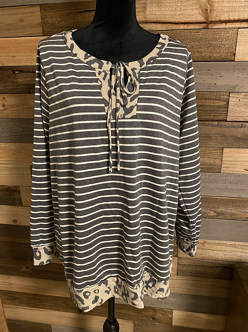 Plus size striped cheetah lace up top