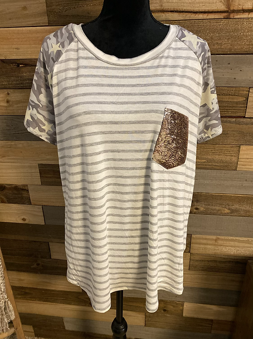 Plus size gray striped pocket tee