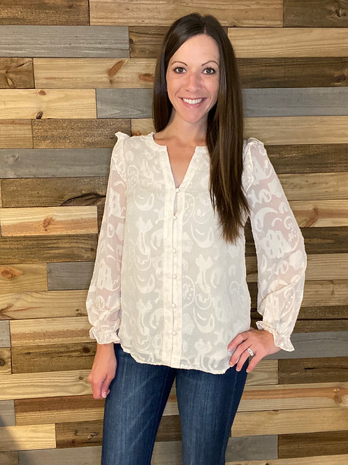 Textured button ivory blouse