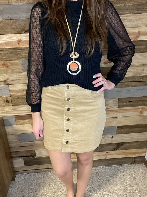Taupe corduroy button skirt