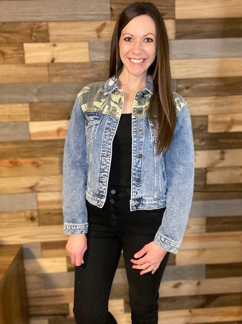 KanCan camo distressed jean jacket