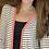 Thumbnail: Coral black/white stripe cardigan