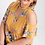 Thumbnail: plus size mustard floral cold shoulder with choker neck