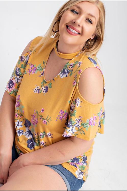 plus size mustard floral cold shoulder with choker neck