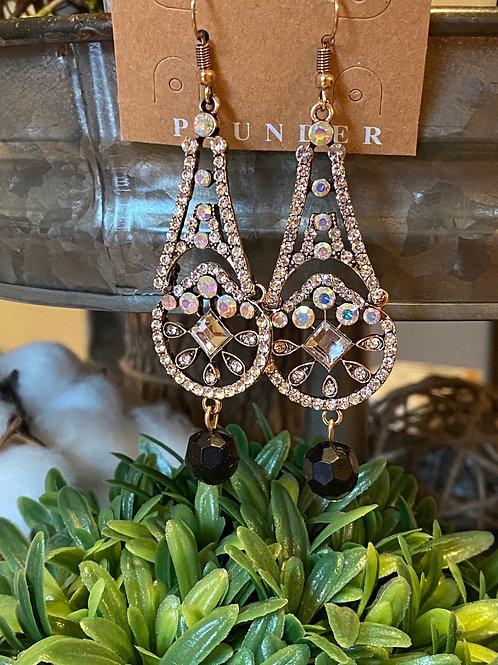 Crystal earrings with black bead drop
