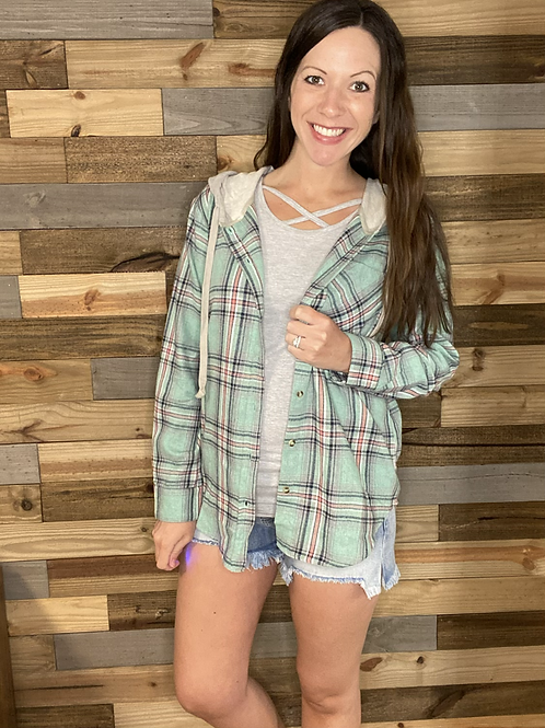 Hooded mint plaid button up