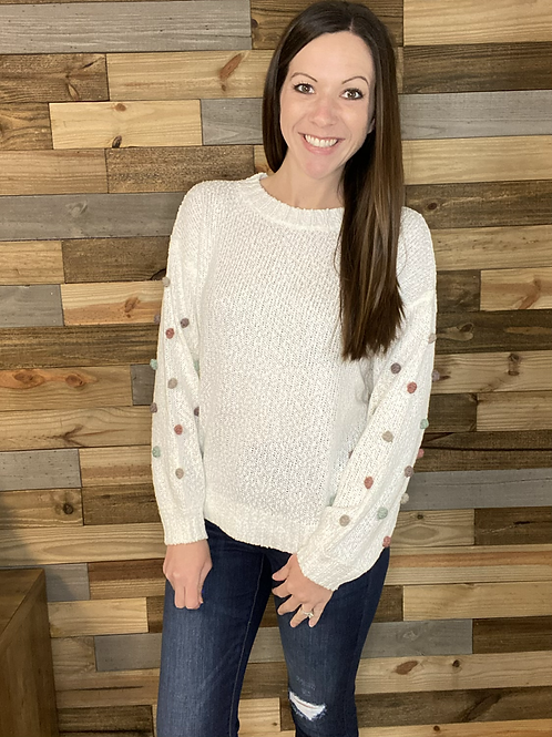 White puff dotted sweater