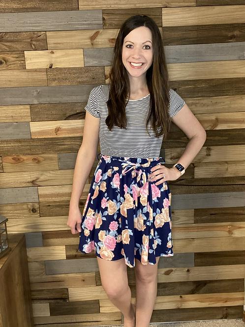 Floral/striped short sleeve dress