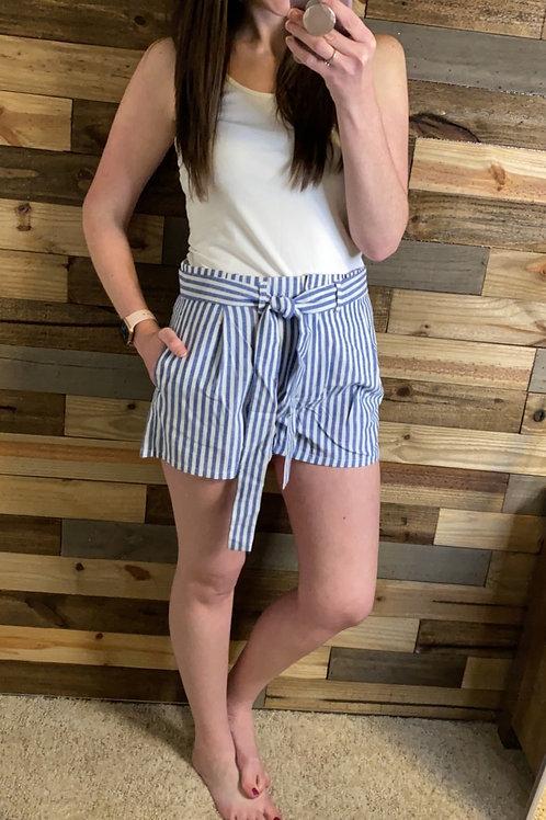 Blue striped paper bag shorts