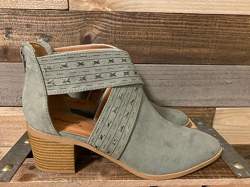 Olive stitched cut out booties