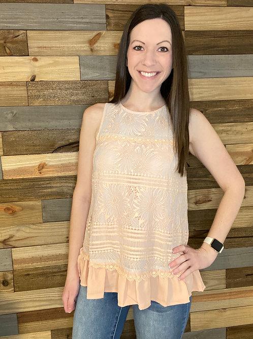 Peach lace blouse