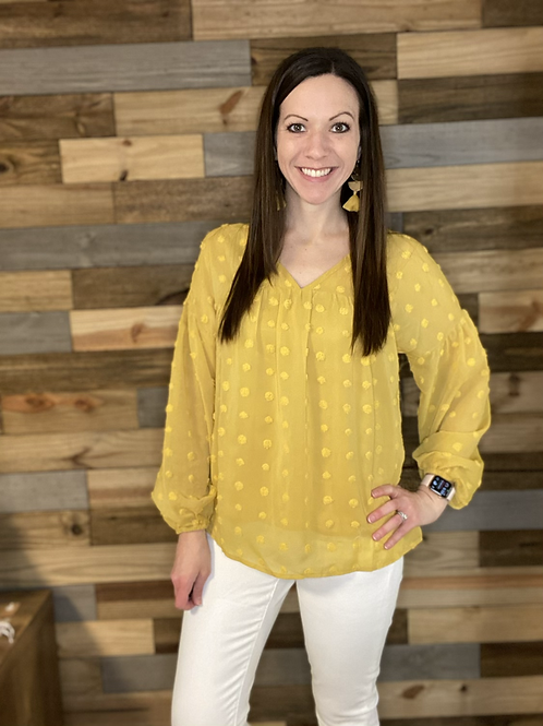 Mustard texture dotted blouse